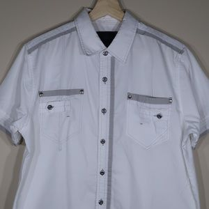 Solid White Short-Sleeve Casual Shirt